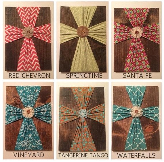 Fabric Cross Wall Cross Cross On Woodturquoiseowldesign regarding Fabric Cross Wall Art