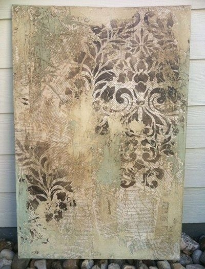 Fabric Damask Wall Stencil | Damask Stencil, Mixed Media Canvas Regarding Damask Fabric Wall Art (Image 7 of 15)
