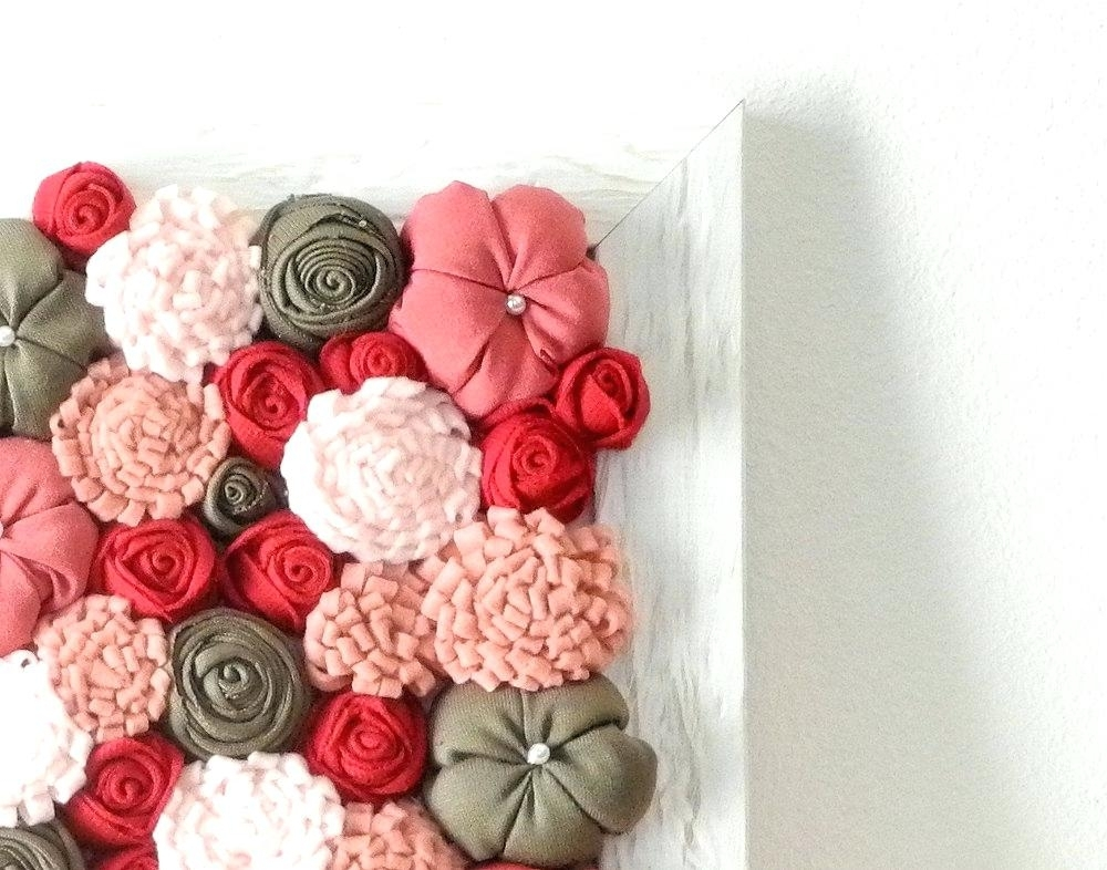 Fabric Flower Wall Art Diy Fabric Flower Wall Art – Boyintransit Inside Diy Fabric Flower Wall Art (Image 10 of 15)