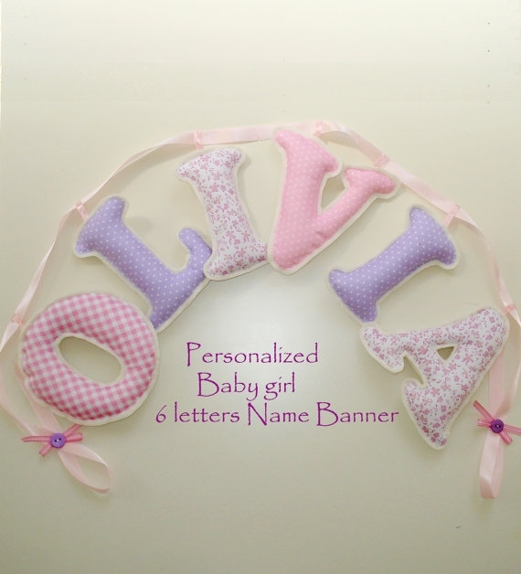 Fabric Letter Name Banner Girl's Room Name Banner Pink Within Fabric Name Wall Art (View 10 of 15)