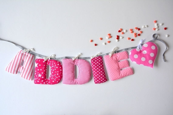 Fabric Letters, Baby Name Garland, Fabric Name Banner, Bunting Throughout Fabric Name Wall Art (View 5 of 15)
