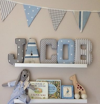 Fabric Letters Wall Art Handmade Padded, Nursery, Name For Baby Nursery Fabric Wall Art (Image 7 of 15)