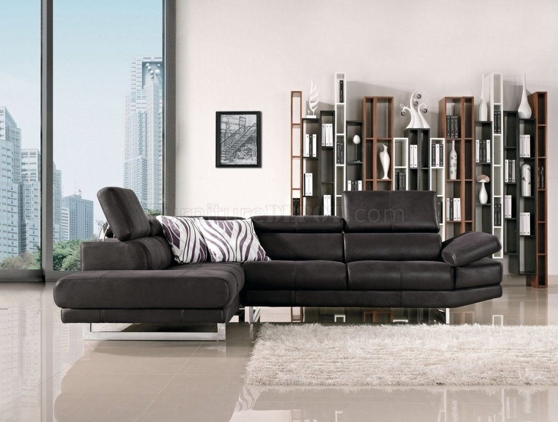 Fabric Modern Sectional Sofa W/adjustable Headrest Throughout For Nyc Sectional Sofas (Image 2 of 10)