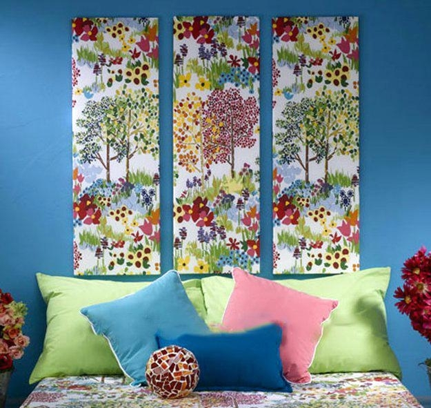 Fabric On Canvas Wall Art Diy Fabric Wall Art Fabric Canvas Wall In Diy Fabric Canvas Wall Art (Image 10 of 15)
