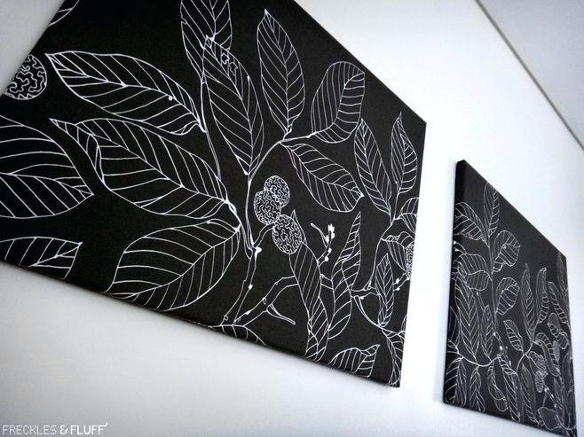 Fabric On Canvas Wall Art Diy Printed Fabric Covered Canvas 5 Inside Black And White Fabric Wall Art (Image 11 of 15)