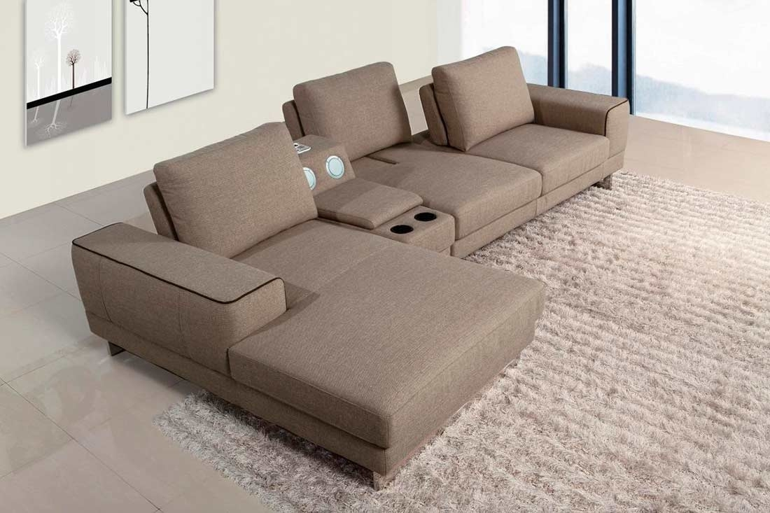 Fabric Sectional Sofa With Beverage Console Vg347 | Fabric Sectional Pertaining To Sectional Sofas With Consoles (Image 1 of 10)