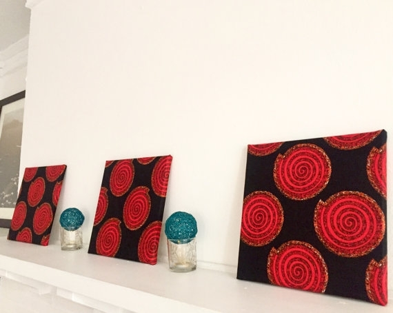 Fabric Wall Art Ankara/african Wax Print 12 X Throughout Ankara Fabric Wall Art (Image 12 of 15)