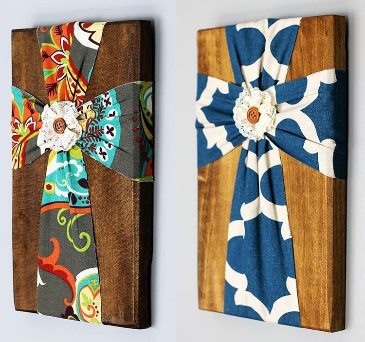 Fabric Wall Cross | Rustic Wood, Woods And Fabrics For Rustic Fabric Wall Art (View 2 of 15)