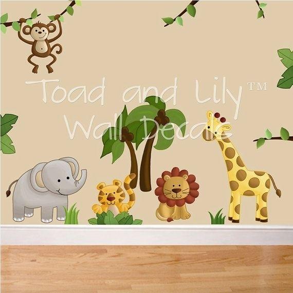 Fabric Wall Decals Jungle Animal Safari Girls Boys Bedroom Inside Baby Nursery Fabric Wall Art (Image 8 of 15)