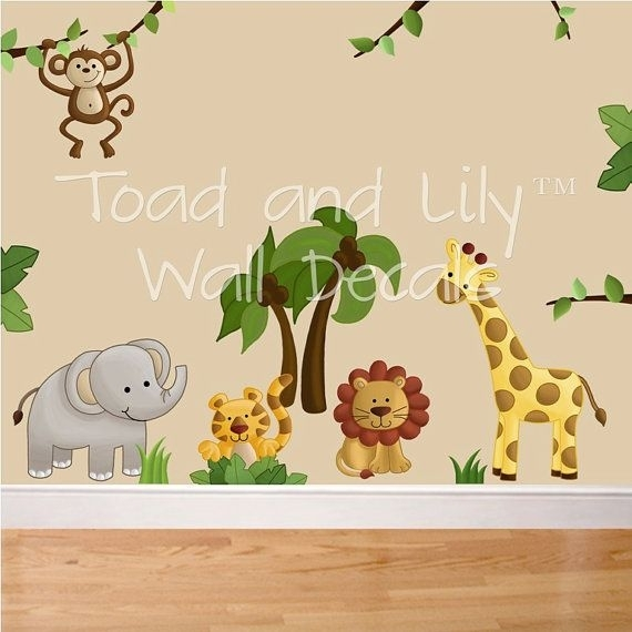 Fabric Wall Decals Jungle Animal Safari Girls Boys Bedroom With Fabric Wall Art Stickers (View 15 of 15)