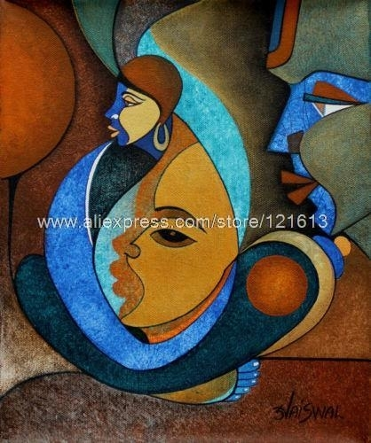 Faces Acrylic Abstract Cubist Painting Handmade India Oil With India Abstract Wall Art (View 12 of 15)