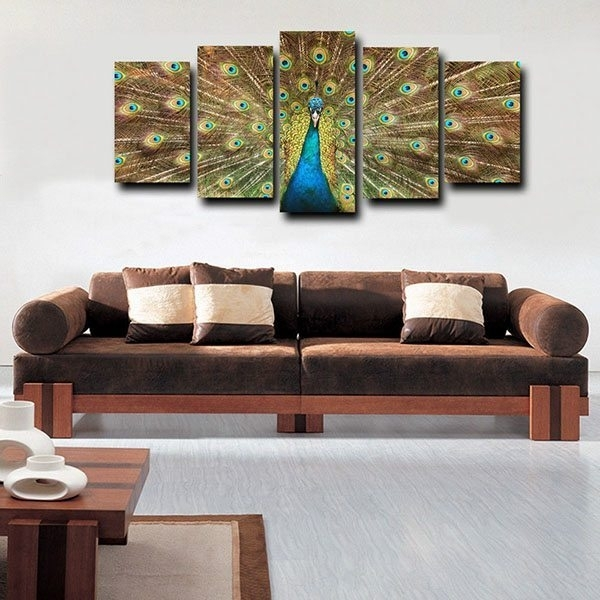 Factory Source Framed Canvas Print For Living Room Big Peacock Throughout Johannesburg Canvas Wall Art (View 10 of 15)