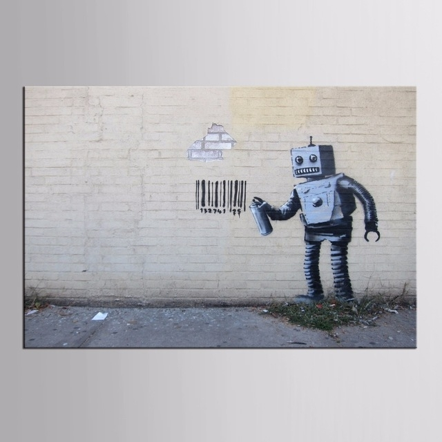 Factory Wholesale Abstract Graffiti Robot On Canvas Painting Wall Pertaining To Robot Canvas Wall Art (Image 5 of 15)