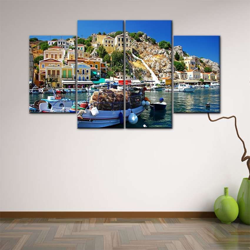 Fair 90+ 4 Piece Wall Art Design Inspiration Of Group Wall Art Pertaining To Greece Canvas Wall Art (View 8 of 15)