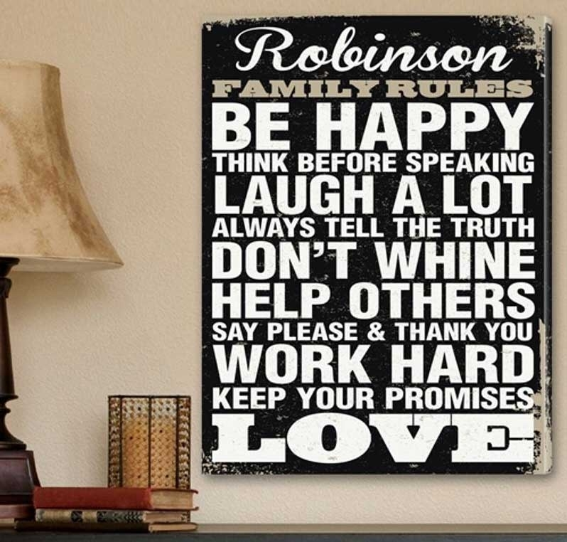 Family Rules Canvas Wall Art Canvas Print | Home Interior & Exterior With Canvas Wall Art Family Rules (Image 6 of 15)