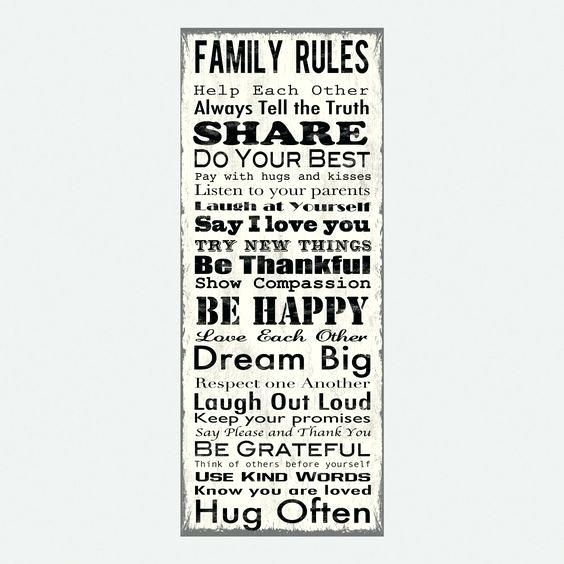 Family Rules Wall Decor Wall Art Decal Family Rules And Canvas Within Canvas Wall Art Family Rules (Image 7 of 15)