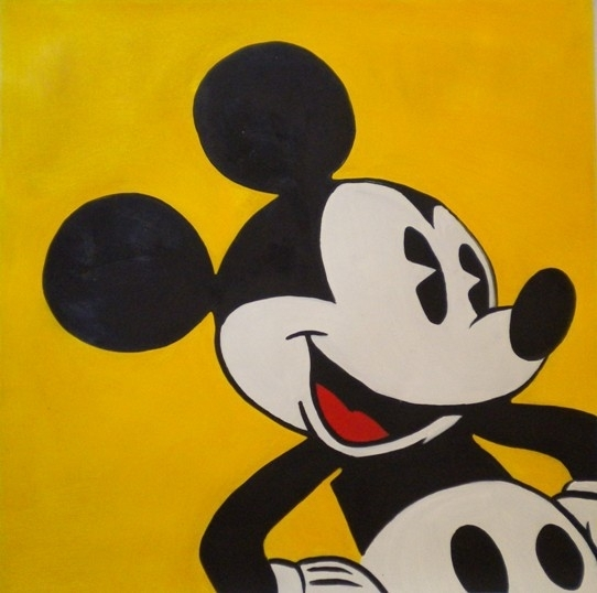 Famous Mickey Mouse On A Yellow Wall Art Home Deco Handmade Canvas Regarding Mickey Mouse Canvas Wall Art (View 15 of 15)