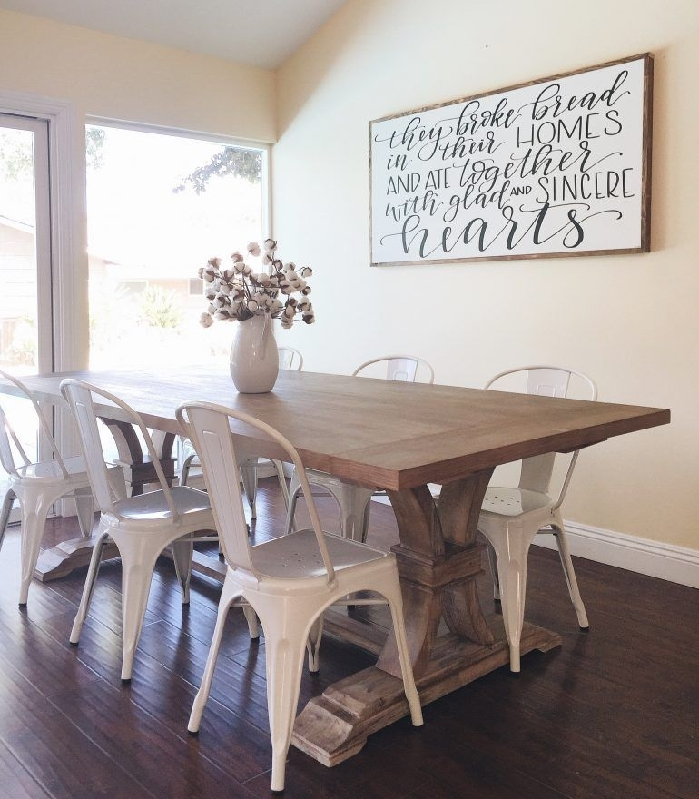 Farmhouse Table With Metal Chairs From Homespun Signs | The Pertaining To Wall Accents For Dining Room (View 7 of 15)