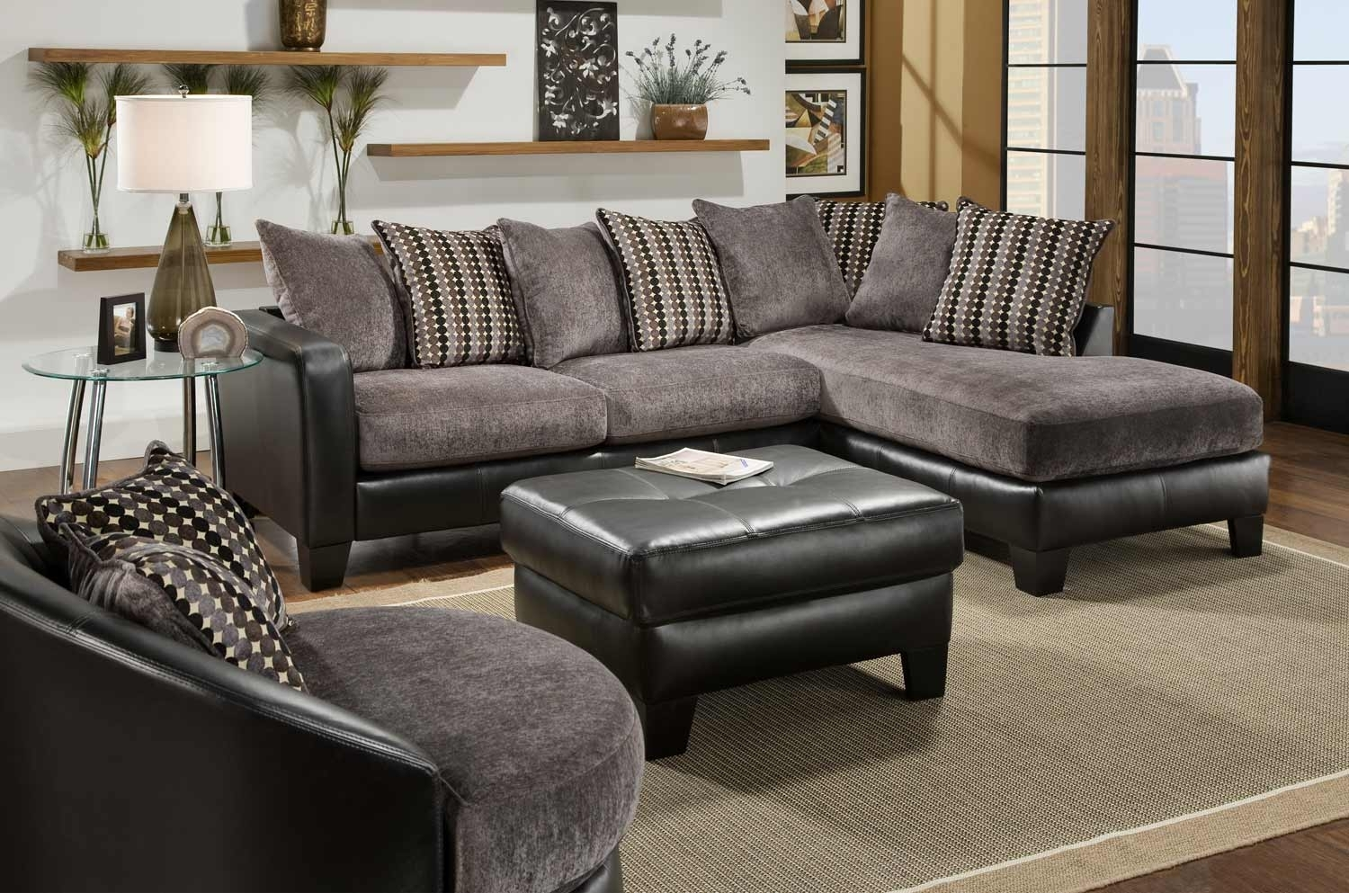 Fascinating Picture Of Living Room Decoration Using L Shape Leather Pertaining To Black Leather Sectionals With Ottoman (Image 5 of 10)