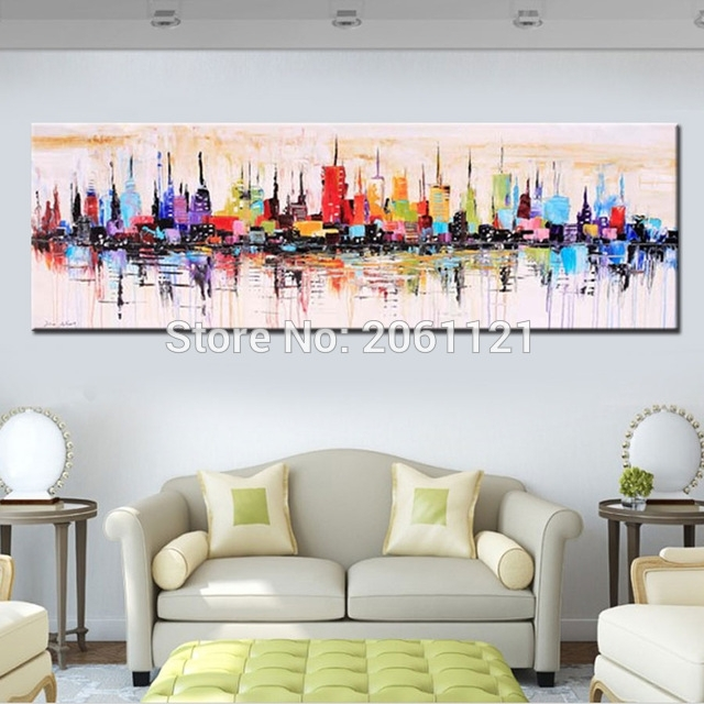 Fashion Modern Living Room Decorative Oil Painting Handpainted In Long Abstract Wall Art (View 12 of 15)