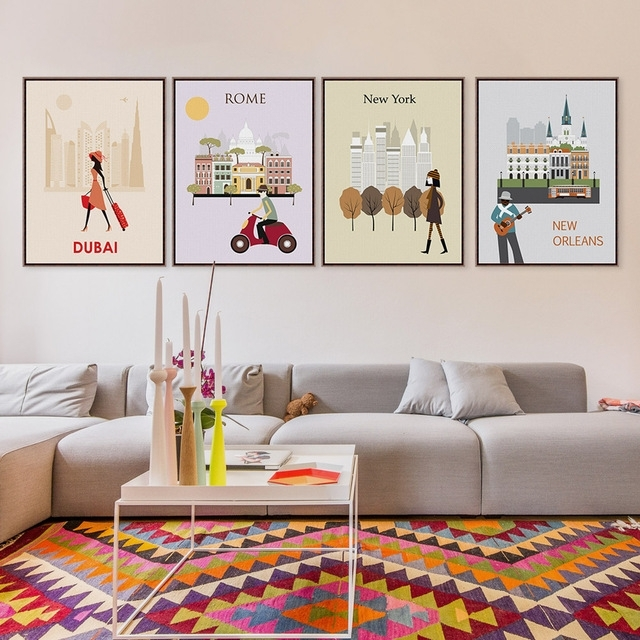 Fashion Paris Rome London Travel City Silhouette A4 Large Art In Canvas Wall Art Of Rome (View 15 of 15)