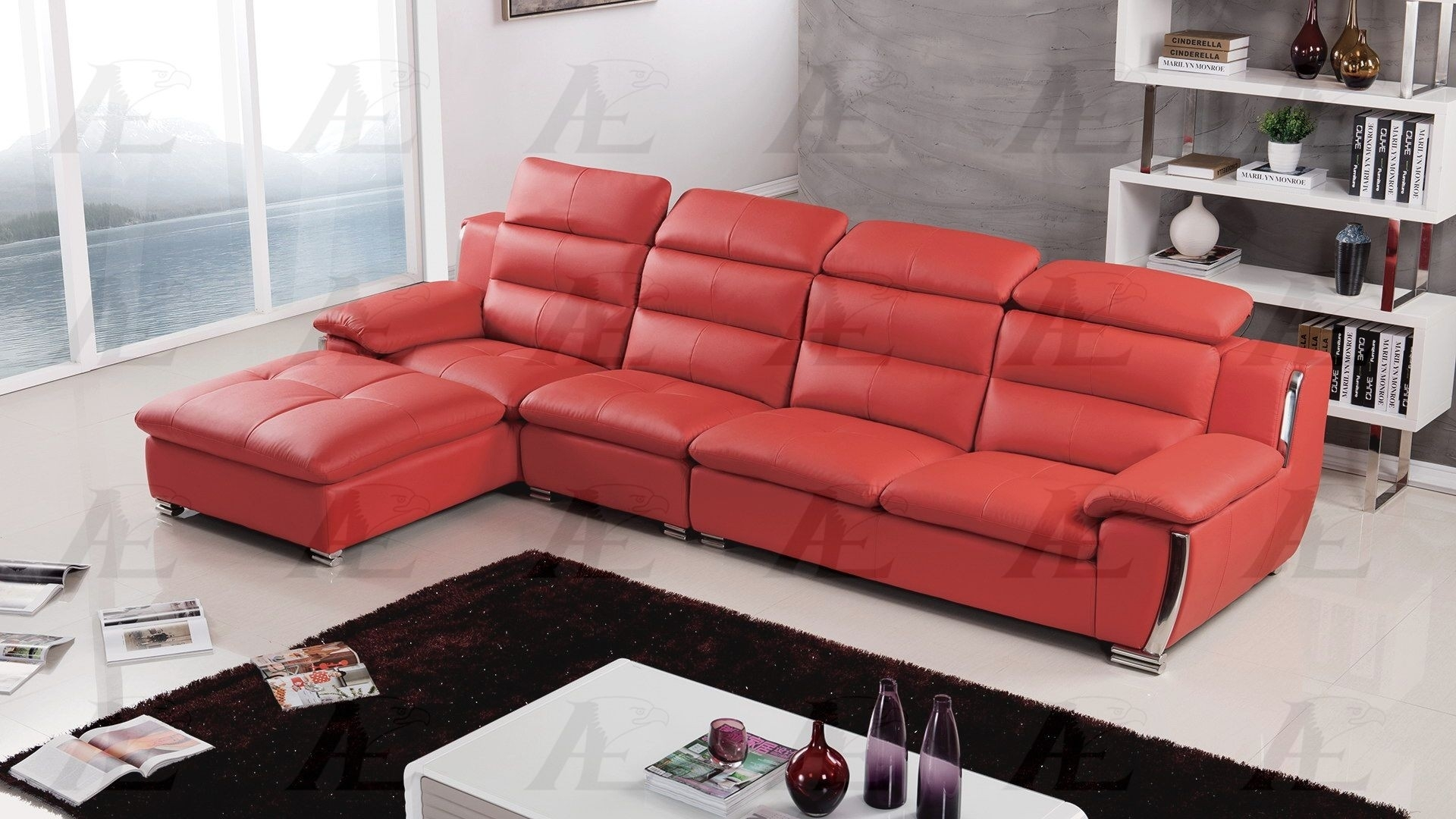 Faux Leather Sectional In Red Faux Leather Sectionals (Image 2 of 10)