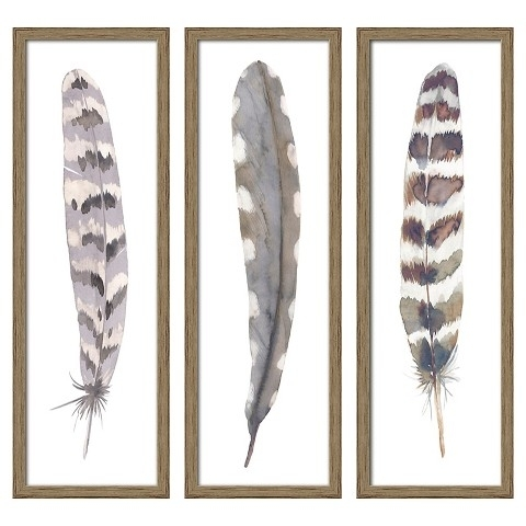 "Feather 3 Pack Wall Art Target | 12""x36"" Framed 3 Pack Feathers Pertaining To Canvas Wall Art At Target (View 7 of 15)"