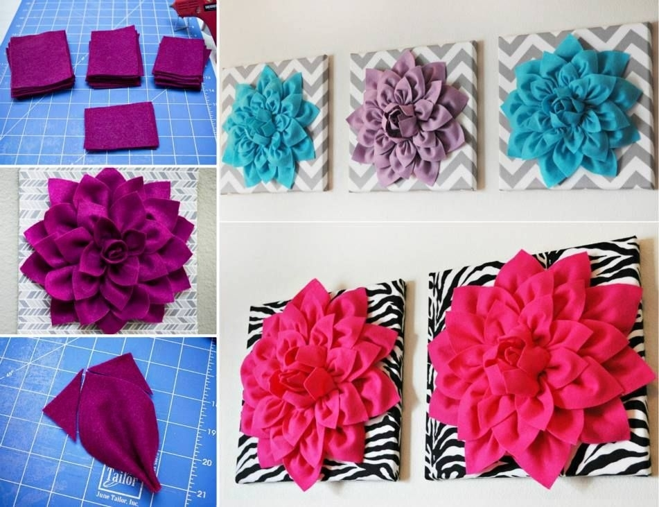 Felt Flower Wall Art – Google Search | Projects And Crafts Regarding Diy Fabric Flower Wall Art (Image 11 of 15)