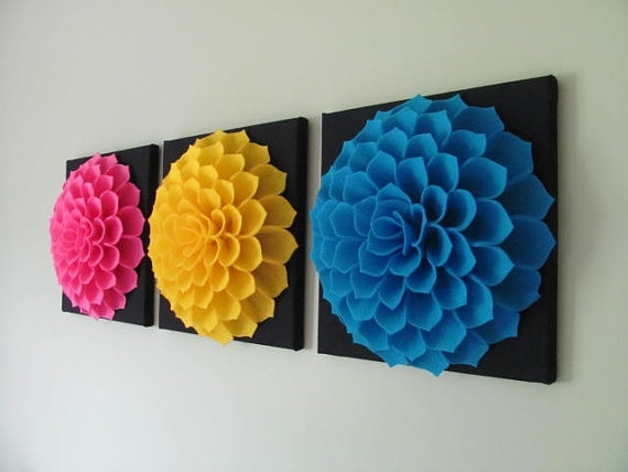 Felt Flower Wall Art Pattern Sophia Flower Fabric Flower Wall Art With Regard To Fabric Flower Wall Art (Image 6 of 15)