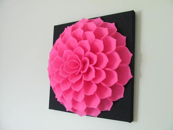 Felt Flower Wall Art Pattern Sophia Flower Fabric Flower Wall Art Within Diy Fabric Flower Wall Art (Image 12 of 15)