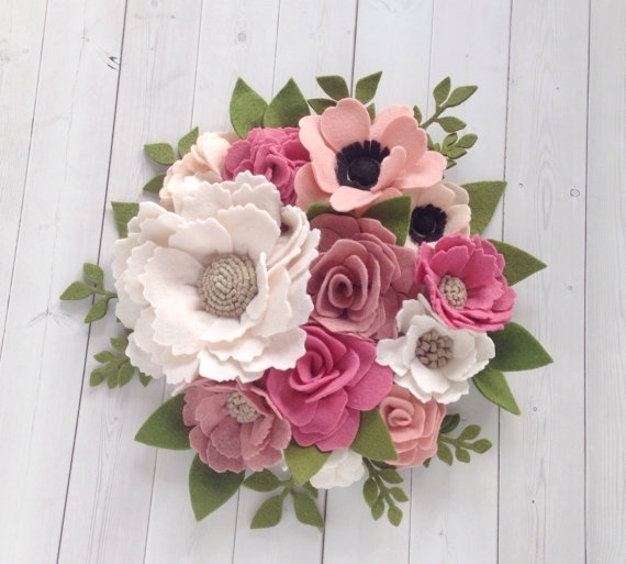 Felt Wall Art Floral Wall Hanging Floral Wall Artthegreyrose Throughout Fabric Flower Wall Art (Image 9 of 15)