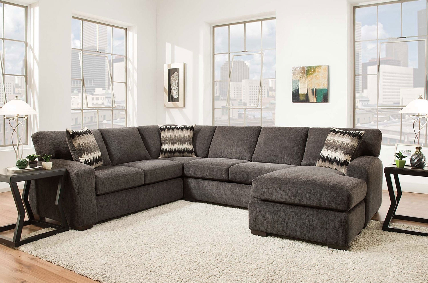 Fenella 2 Piece Right Facing Sectional – Smoke | Levin Furniture With Vt Sectional Sofas (Image 3 of 10)