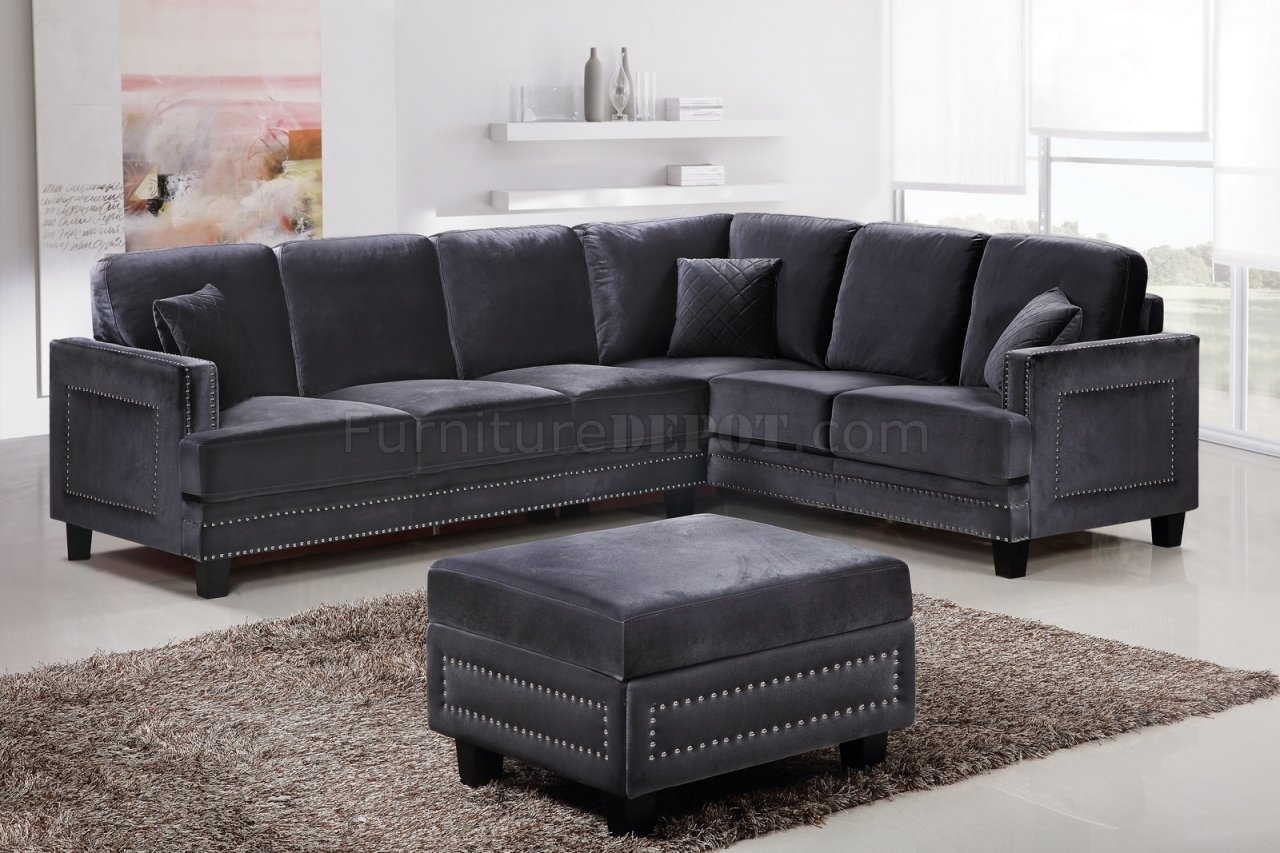 Ferrara Sectional Sofa 655 In Grey Velvet Fabric W/options Regarding Velvet Sectional Sofas (View 7 of 10)