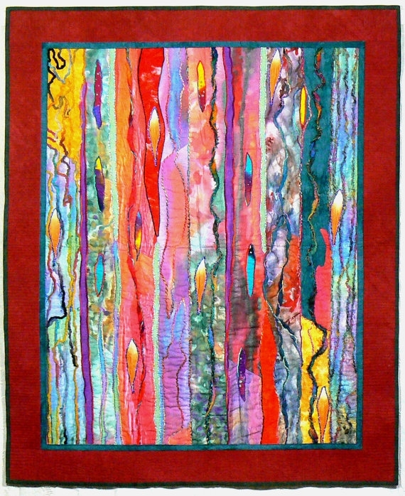 Fiber Art Quilt Art Wall Hanging Contemporary Quilt Modern Throughout Modern Fabric Wall Art (Image 7 of 15)