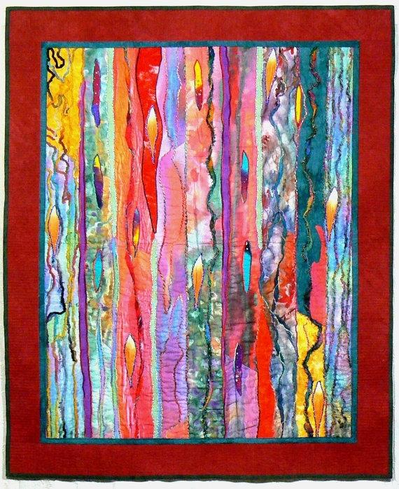 Fiber Art Quilt Art Wall Hanging Contemporary Quilt Modern With Quilt Fabric Wall Art (Image 10 of 15)