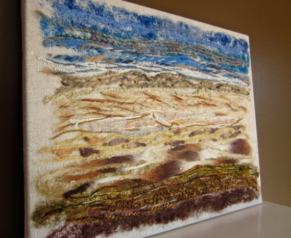 Fiber Art Wall Hanging Mixed Media Textile Textured Art – Modern Pertaining To Contemporary Textile Wall Art (Image 9 of 15)