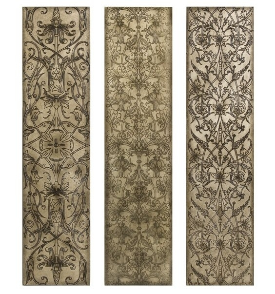 Filigree Pattern Black And White Wood Wall Art Panels, Set Of 3 Within Kortoba Canvas Wall Art (Image 8 of 15)