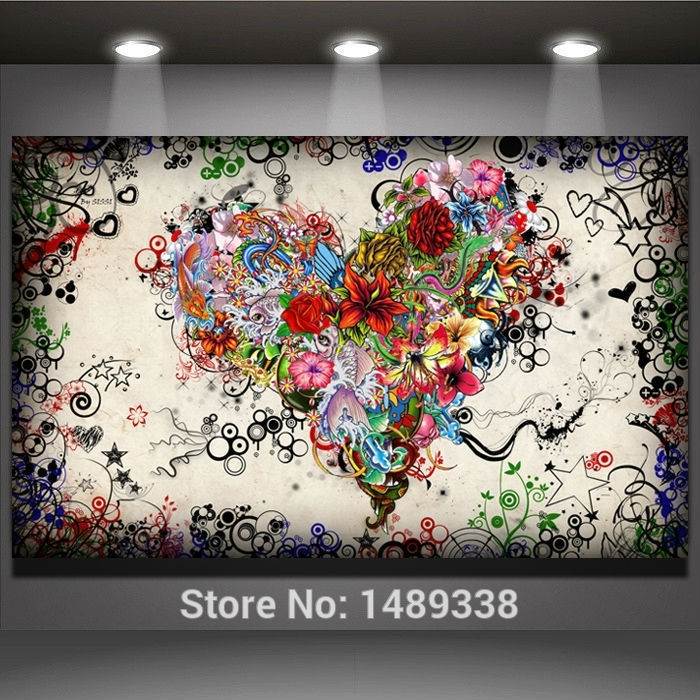 Find More Painting & Calligraphy Information About New Arrived With Hearts Canvas Wall Art (Image 6 of 15)