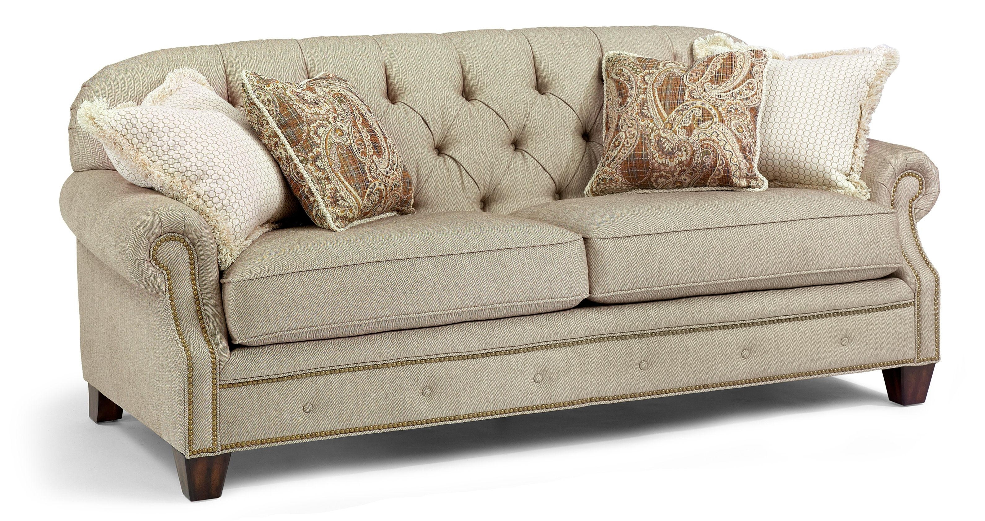 Flexsteel Champion Transitional Button Tufted Sofa With Rolled Arms For Ashley Tufted Sofas (Image 5 of 10)