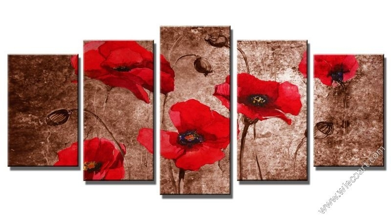 Floral Canvas Art Sets Wall Decor Modern Canvas Prints Wall Art Pertaining To Red Flowers Canvas Wall Art (Image 2 of 15)