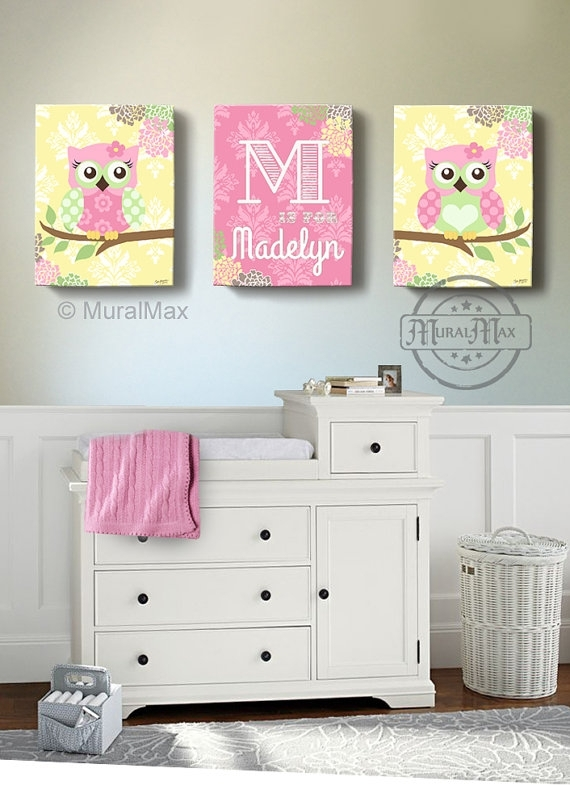 Floral Owl Girls Wall Art Custom Personalized Owl Canvas Inside Personalized Nursery Canvas Wall Art (View 12 of 15)