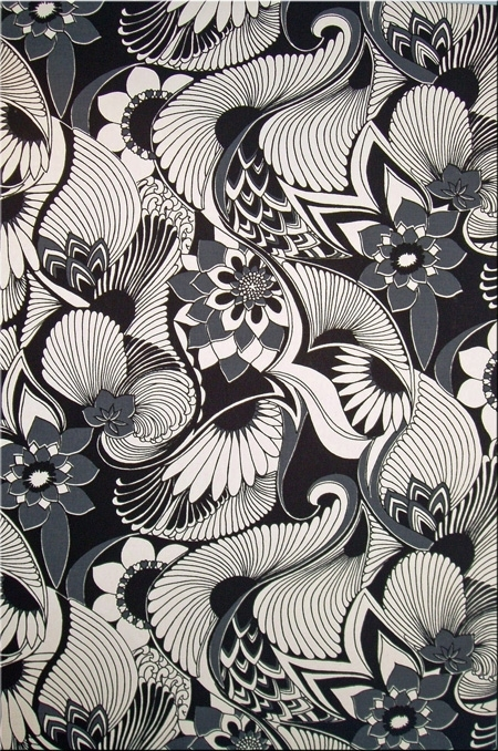 Florence Broadhurst 'aubrey' Fabric Wall Art In Black, Grey And With Florence Broadhurst Fabric Wall Art (View 2 of 15)