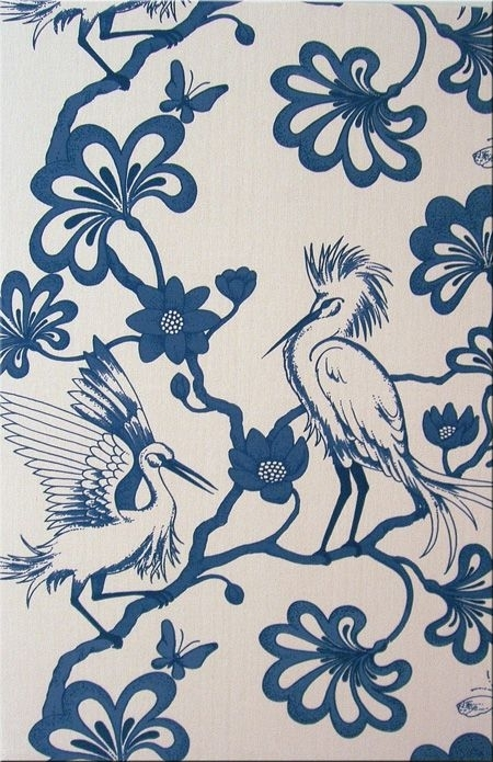 Florence Broadhurst 'egrets' Bl39 Fabric Wall Art In Blue And Off For Florence Broadhurst Fabric Wall Art (Image 10 of 15)