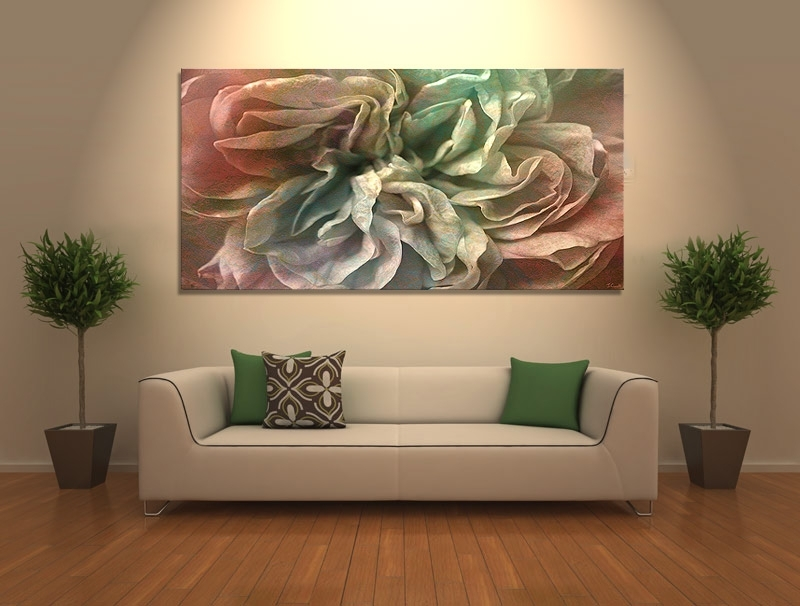 "Flower Dance"" Abstract Flower Art – Large Canvas Print – Within Modern Abstract Huge Wall Art (Image 1 of 15)"