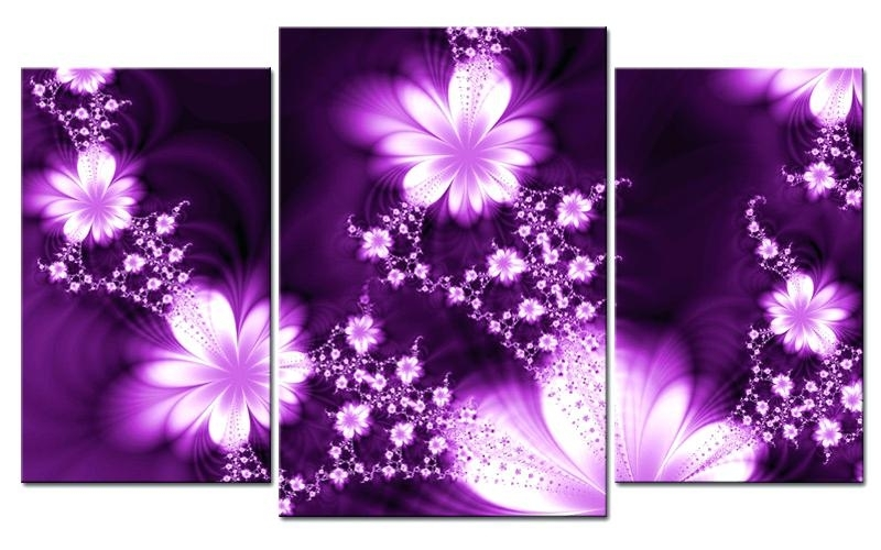 Flower On Canvas Wall Art White Flower Oil Painting On Canvas Intended For Purple Flowers Canvas Wall Art (Image 6 of 15)