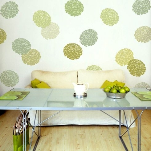 Flower Stencils – Trendy Flower Stencil Designs For Accent Walls For Flowers Wall Accents (Image 4 of 15)