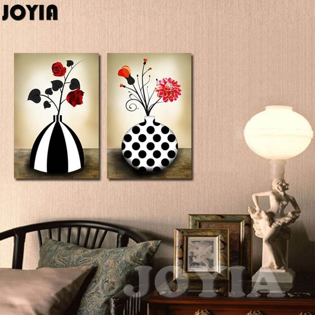 Flower Vase Canvas Prints Retro Black And White Abstract Floral With Regard To Retro Canvas Wall Art (View 14 of 15)