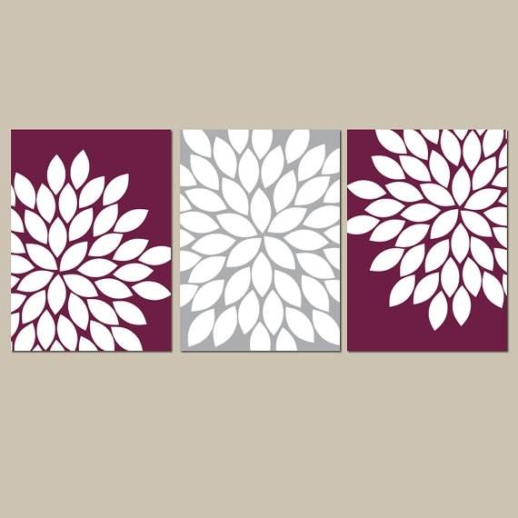 Flower Wall Art Maroon Gray Flower Bedroom Art Maroon With Kohl's Canvas Wall Art (View 13 of 15)