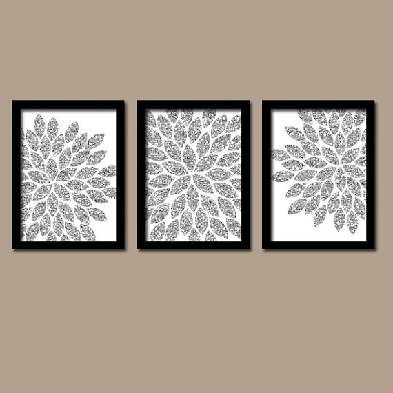 Flower Wall Art Silver Glitter Flowers Wall Art Glitter Within Glitter Canvas Wall Art (View 2 of 15)