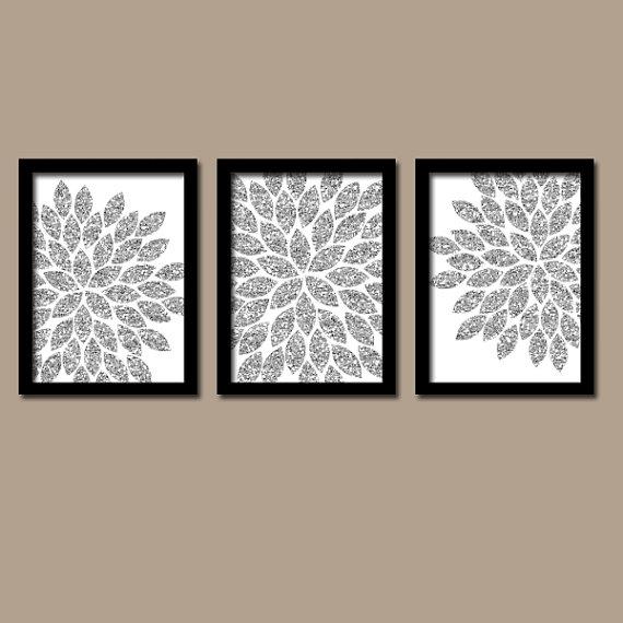 Flower Wall Art Silver Glitter Flowers Wall Art Glitter Within Glitter Canvas Wall Art (Image 7 of 15)
